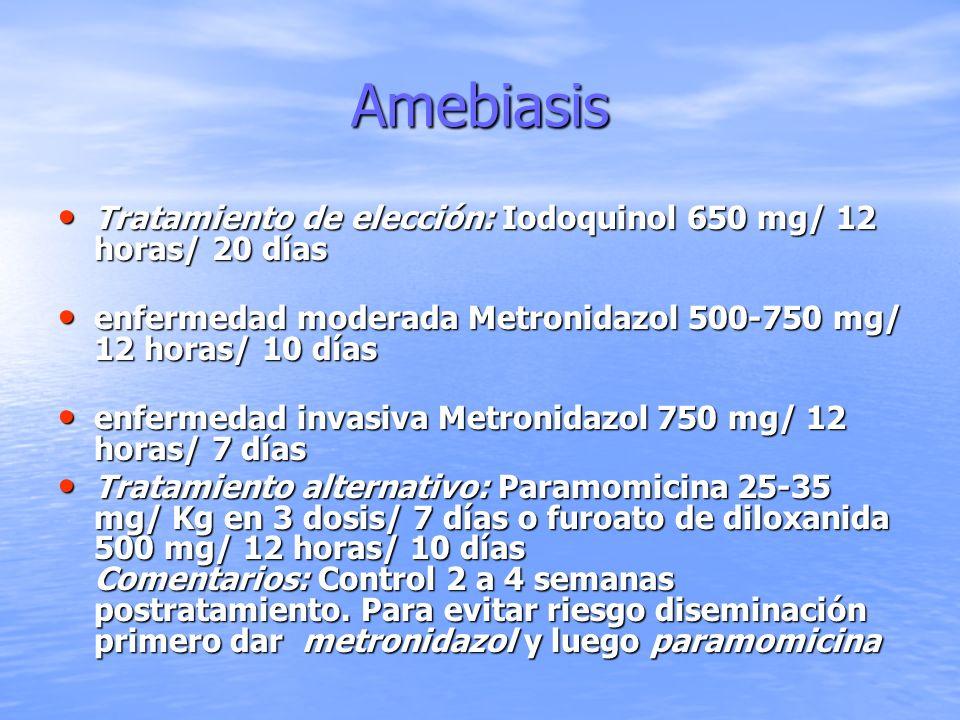 Amebiasis Tratamiento de elección: Iodoquinol 650 mg/ 12 horas/ 20 días Tratamiento de elección: Iodoquinol 650 mg/ 12 horas/ 20 días enfermedad moder