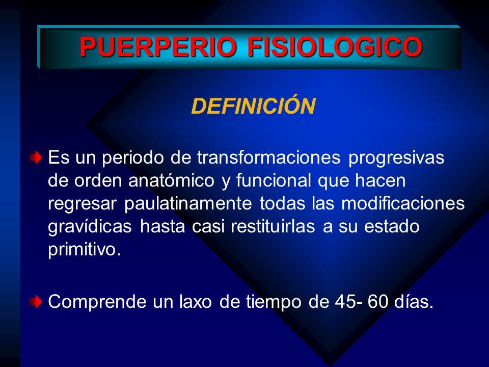 MOMENTOS DEL P.F Puerperio Inmediato: Primeras 24 horas Puerperio Propiamente dicho: Primeros 10 días Puerperio Alejado: Hasta los 45 días, finaliza con el retorno de la menstruación.