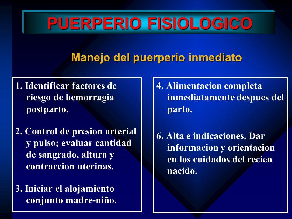 Informar, dar orientacion, consejeria y ofrecer anticoncepcion PUERPERIO FISIOLOGICO Manejo del puerperio inmediato