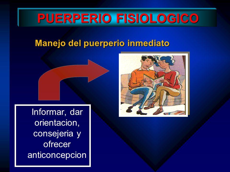 PUERPERIO FISIOLOGICO Puerperio inmediato: Reaparición de la menstruación El retorno de la menstruación varía, si la mujer no amamanta la regla reaparece a las 6-8 semanas después del parto.