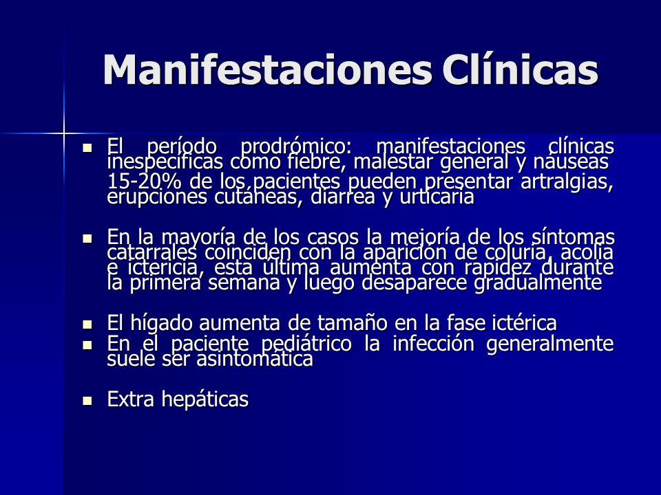 Manifestaciones Clínicas El período prodrómico: manifestaciones clínicas inespecíficas como fiebre, malestar general y náuseas El período prodrómico: