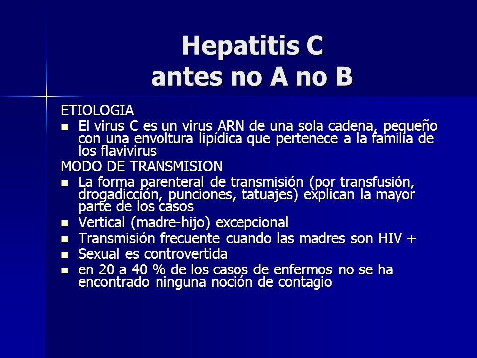 Hepatitis C antes no A no B ETIOLOGIA El virus C es un virus ARN de una sola cadena, pequeño con una envoltura lipídica que pertenece a la familia de