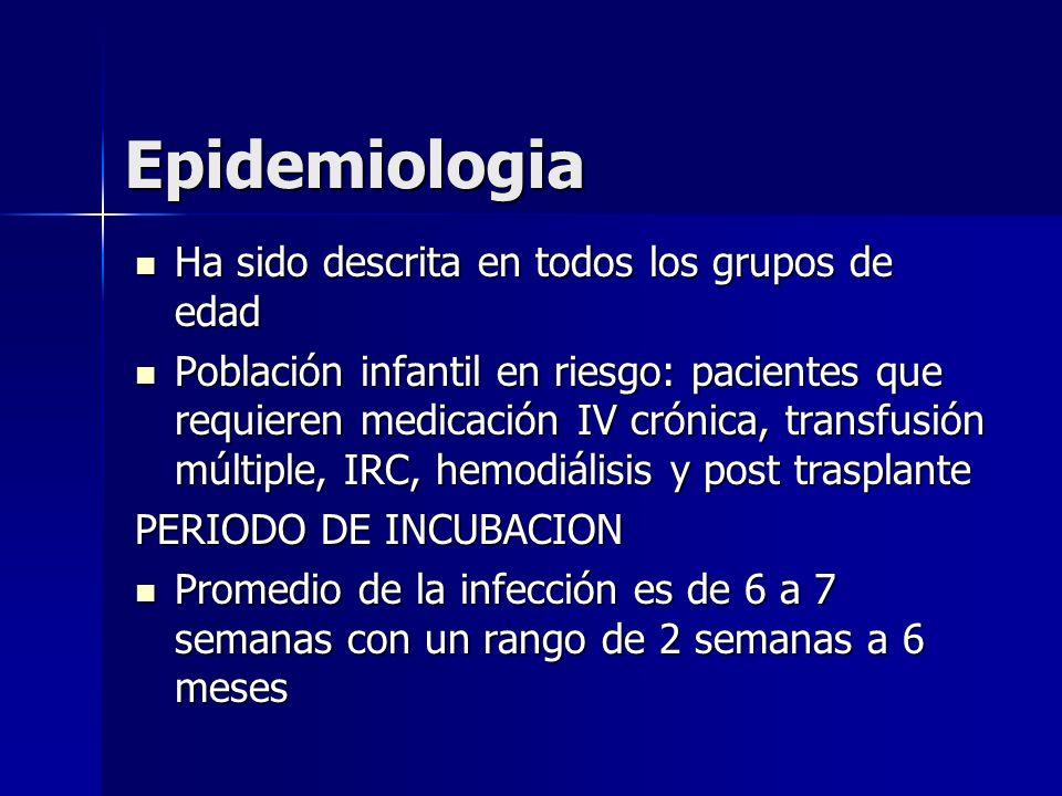 Epidemiologia Ha sido descrita en todos los grupos de edad Ha sido descrita en todos los grupos de edad Población infantil en riesgo: pacientes que re