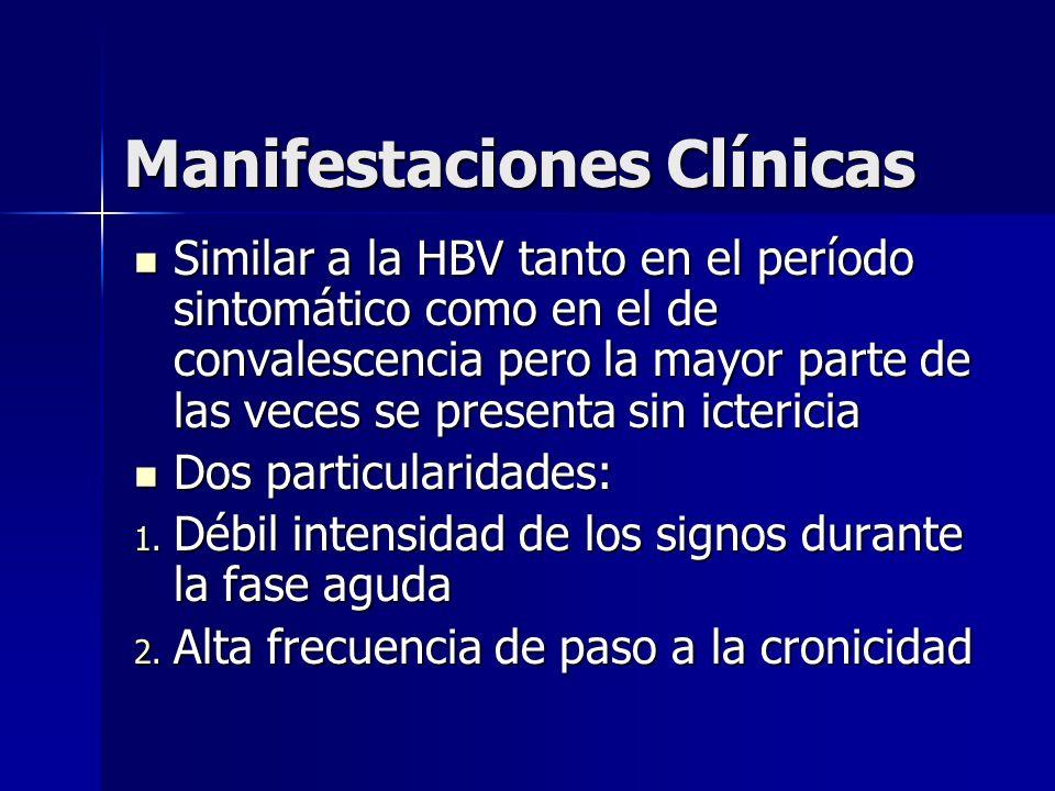 Manifestaciones Clínicas Similar a la HBV tanto en el período sintomático como en el de convalescencia pero la mayor parte de las veces se presenta si