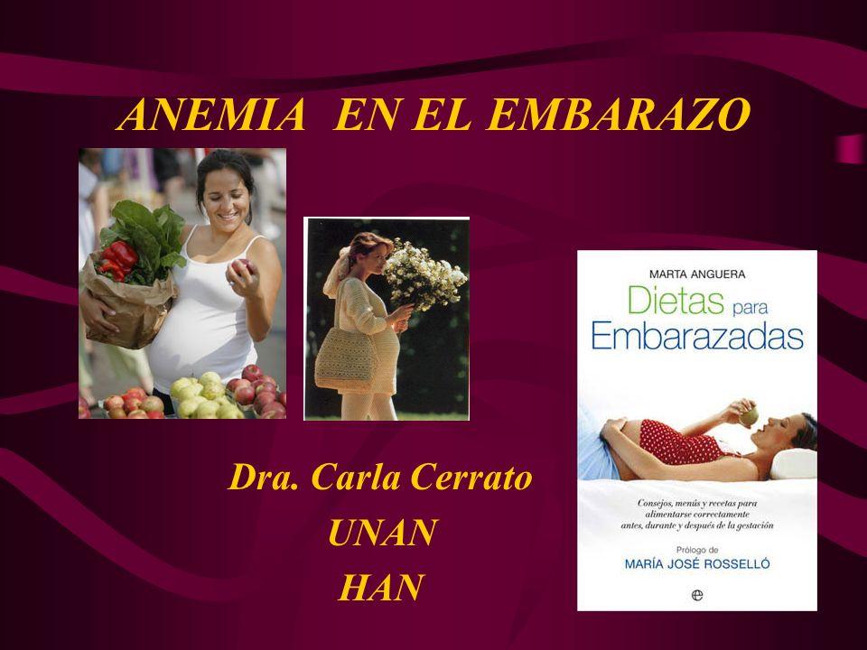 ANEMIA EN EL EMBARAZO Dra. Carla Cerrato UNAN HAN
