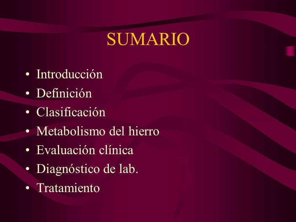 SUMARIO Introducción Definición Clasificación Metabolismo del hierro Evaluación clínica Diagnóstico de lab. Tratamiento