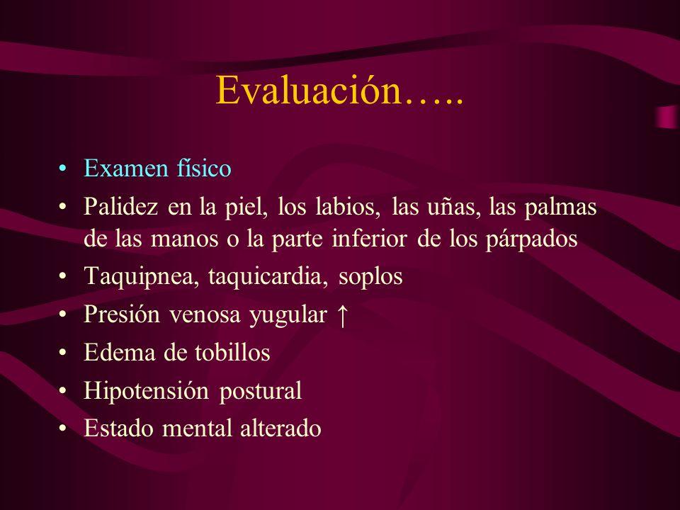 Evaluación….. Examen físico Palidez en la piel, los labios, las uñas, las palmas de las manos o la parte inferior de los párpados Taquipnea, taquicard