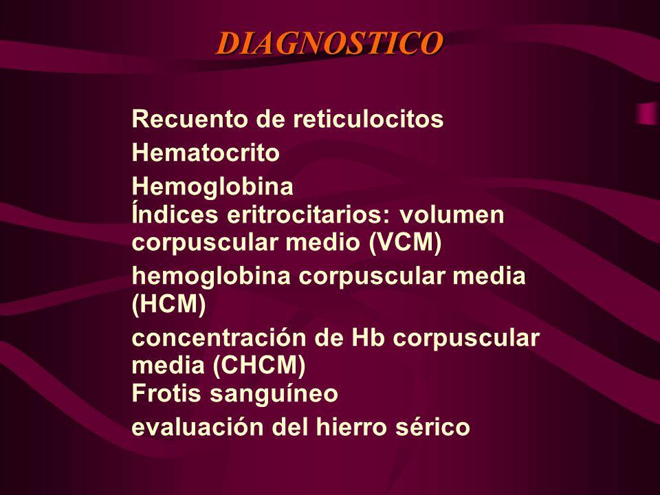 Recuento de reticulocitos Hematocrito Hemoglobina Índices eritrocitarios: volumen corpuscular medio (VCM) hemoglobina corpuscular media (HCM) concentr