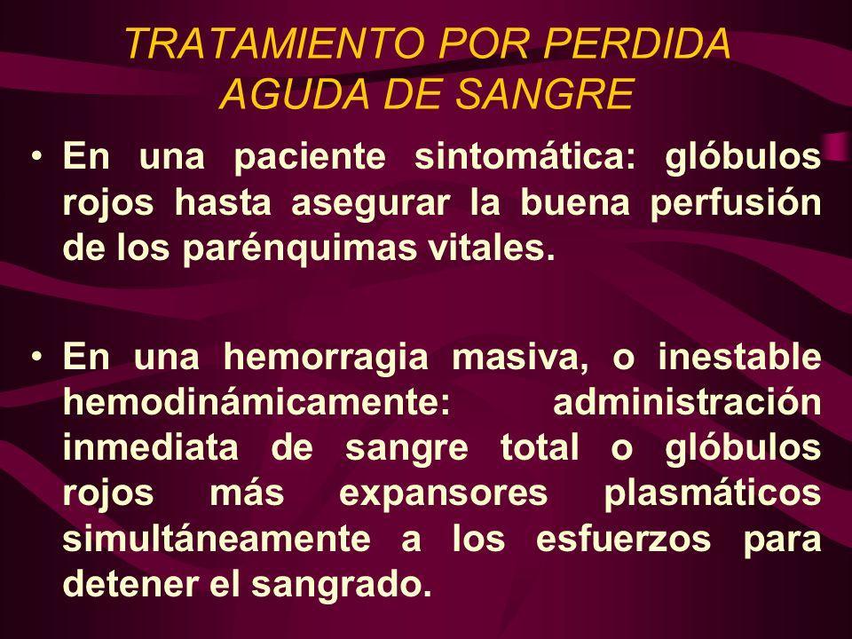 TRATAMIENTO POR PERDIDA AGUDA DE SANGRE En una paciente sintomática: glóbulos rojos hasta asegurar la buena perfusión de los parénquimas vitales. En u