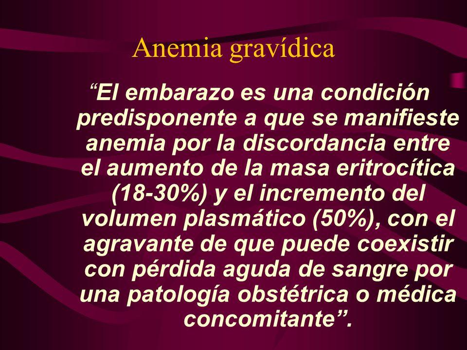 Anemia gravídica El embarazo es una condición predisponente a que se manifieste anemia por la discordancia entre el aumento de la masa eritrocítica (1