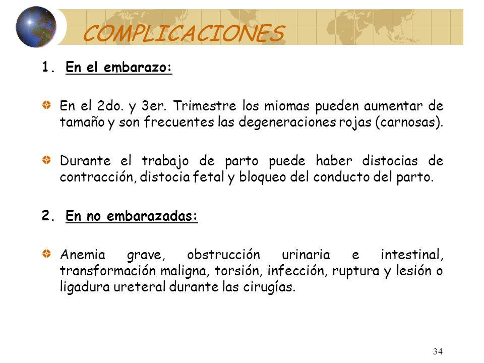 33 DIAGNÓSTICO DIFERENCIAL Neoplasias ováricas. Embarazo. Masas tuboováricas inflamatorias. Adenomiosis. Adherencias a epiplón e intestino. Carcinoma