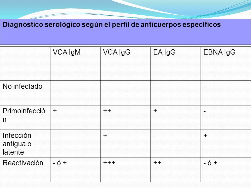 Diagnóstico serológico según el perfil de anticuerpos específicos VCA IgMVCA IgGEA IgGEBNA IgG No infectado---- Primoinfecció n ++++- Infección antigu