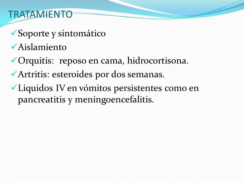 TRATAMIENTO Soporte y sintomático Aislamiento Orquitis: reposo en cama, hidrocortisona. Artritis: esteroides por dos semanas. Liquidos IV en vómitos p