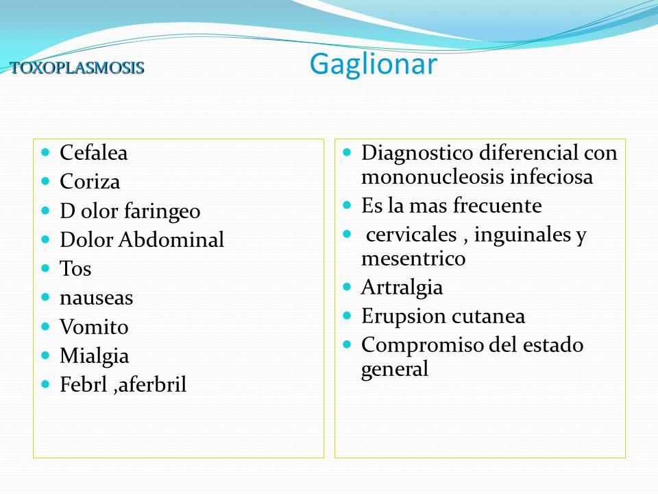 Gaglionar Cefalea Coriza D olor faringeo Dolor Abdominal Tos nauseas Vomito Mialgia Febrl,aferbril Diagnostico diferencial con mononucleosis infeciosa