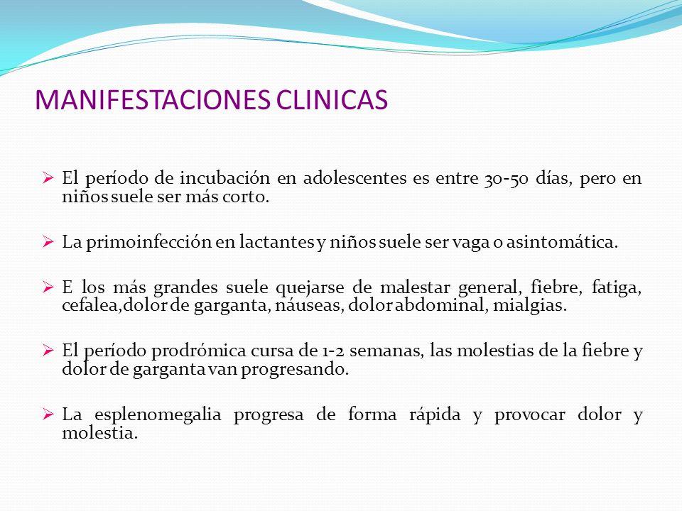 MANIFESTACIONES CLINICAS El período de incubación en adolescentes es entre 30-50 días, pero en niños suele ser más corto. La primoinfección en lactant