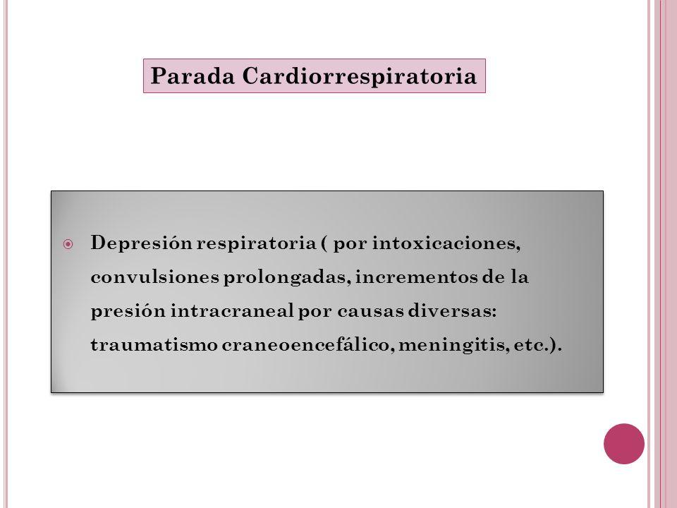 Depresión respiratoria ( por intoxicaciones, convulsiones prolongadas, incrementos de la presión intracraneal por causas diversas: traumatismo craneoe