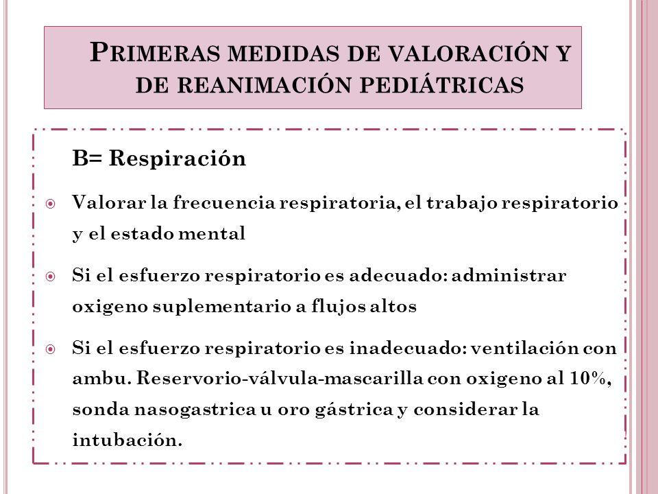B= Respiración Valorar la frecuencia respiratoria, el trabajo respiratorio y el estado mental Si el esfuerzo respiratorio es adecuado: administrar oxi