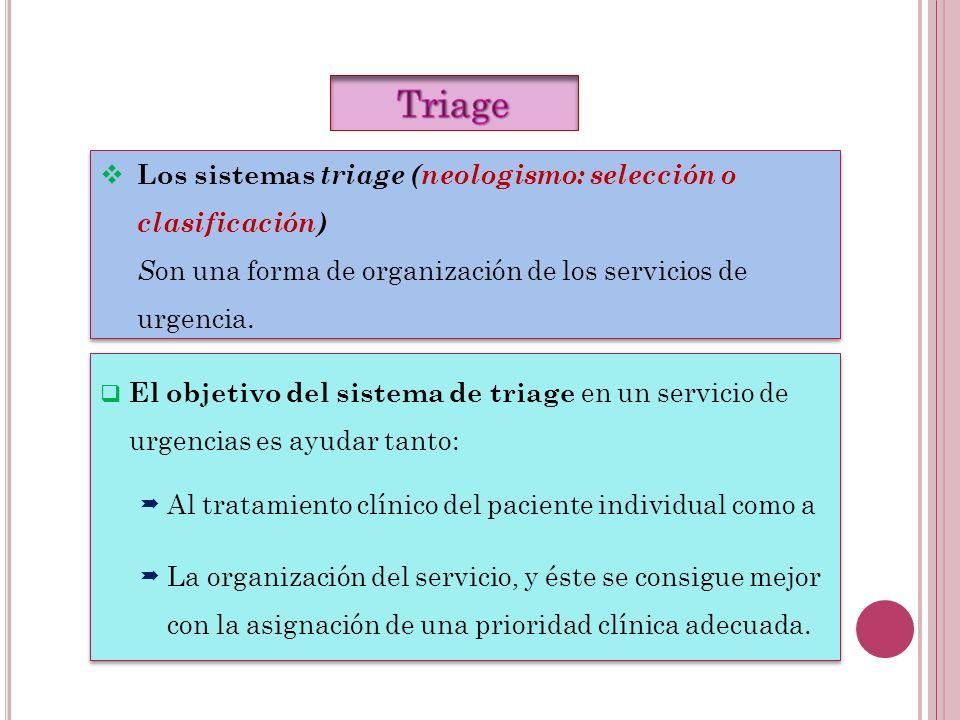 El objetivo del sistema de triage en un servicio de urgencias es ayudar tanto: Al tratamiento clínico del paciente individual como a La organización d