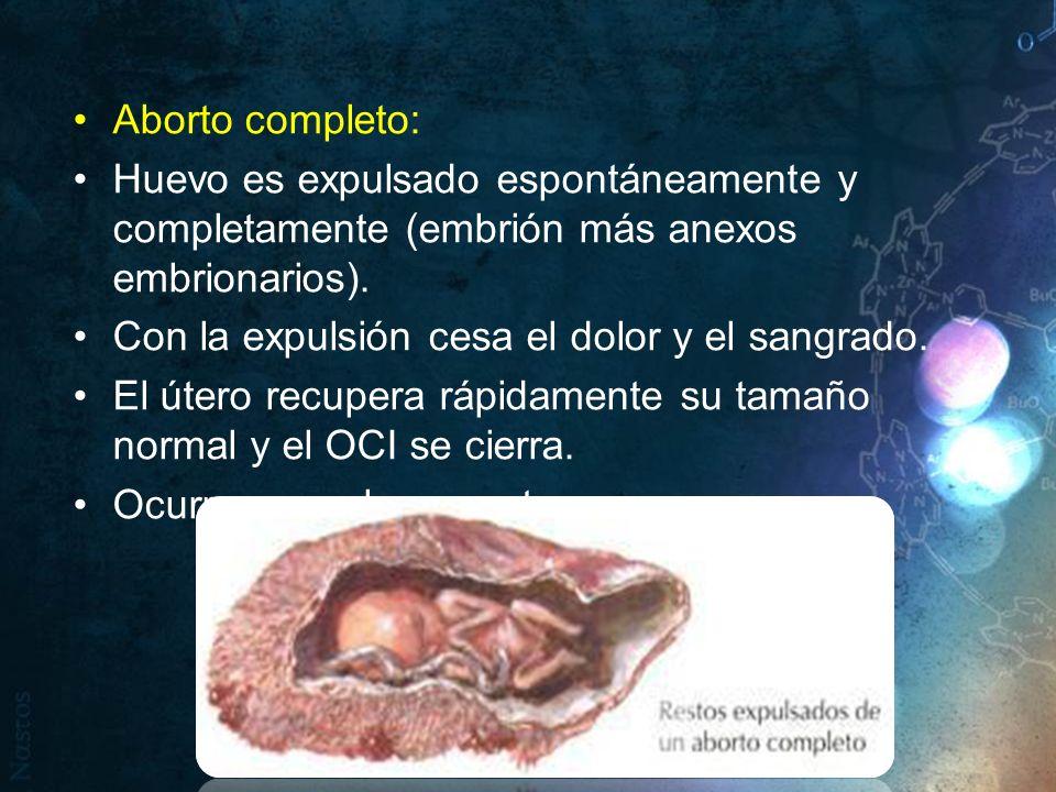 Aborto completo: Huevo es expulsado espontáneamente y completamente (embrión más anexos embrionarios). Con la expulsión cesa el dolor y el sangrado. E