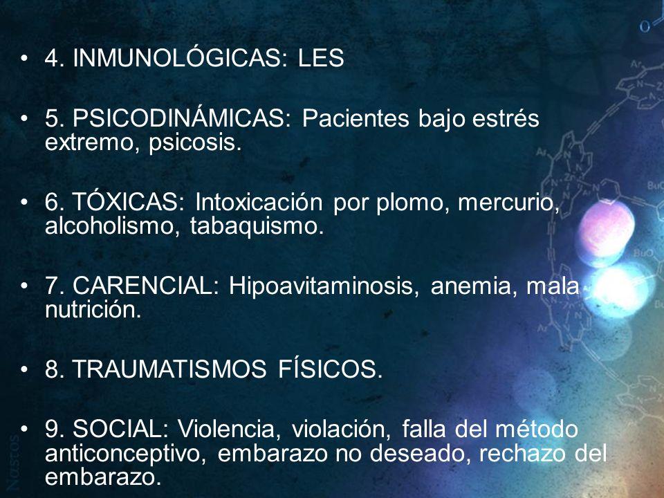 4. INMUNOLÓGICAS: LES 5. PSICODINÁMICAS: Pacientes bajo estrés extremo, psicosis. 6. TÓXICAS: Intoxicación por plomo, mercurio, alcoholismo, tabaquism