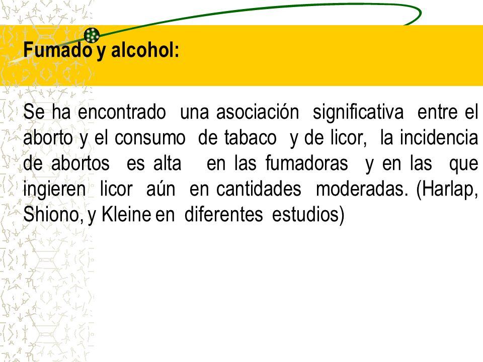 Fumado y alcohol: Se ha encontrado una asociación significativa entre el aborto y el consumo de tabaco y de licor, la incidencia de abortos es alta en