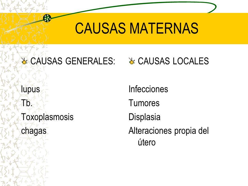CAUSAS MATERNAS CAUSAS GENERALES: lupus Tb. Toxoplasmosis chagas CAUSAS LOCALES Infecciones Tumores Displasia Alteraciones propia del útero