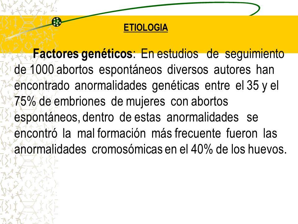 ETIOLOGIA Factores genéticos : En estudios de seguimiento de 1000 abortos espontáneos diversos autores han encontrado anormalidades genéticas entre el
