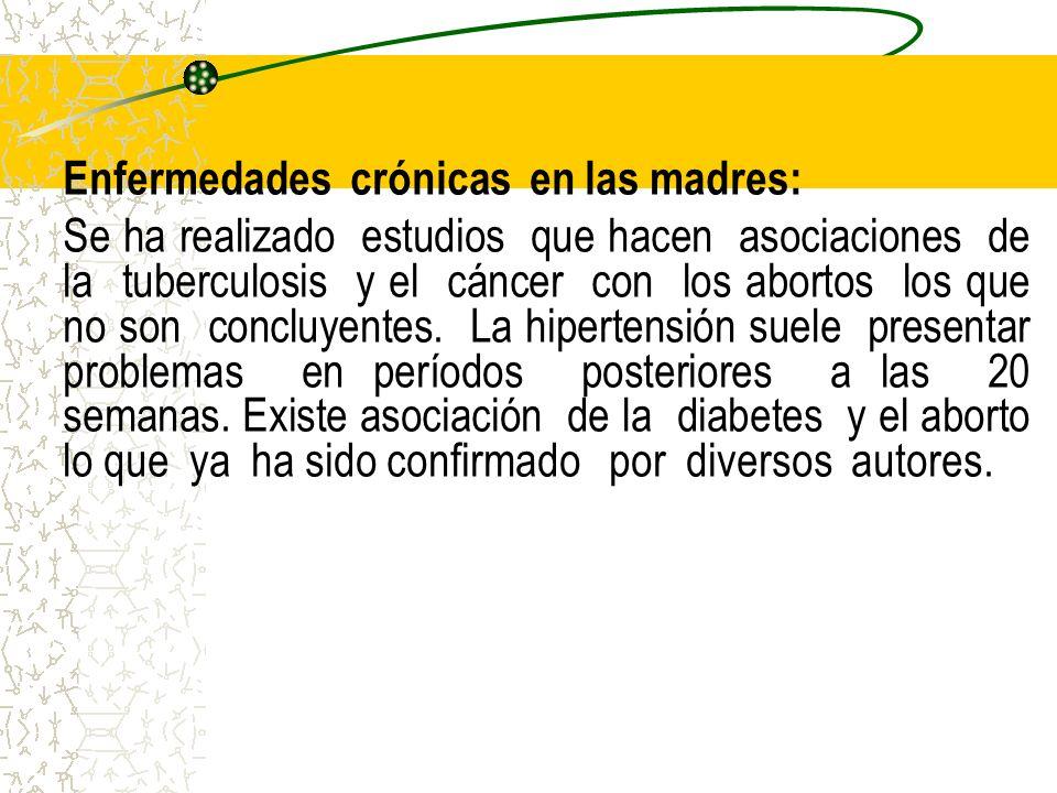 Enfermedades crónicas en las madres: Se ha realizado estudios que hacen asociaciones de la tuberculosis y el cáncer con los abortos los que no son con
