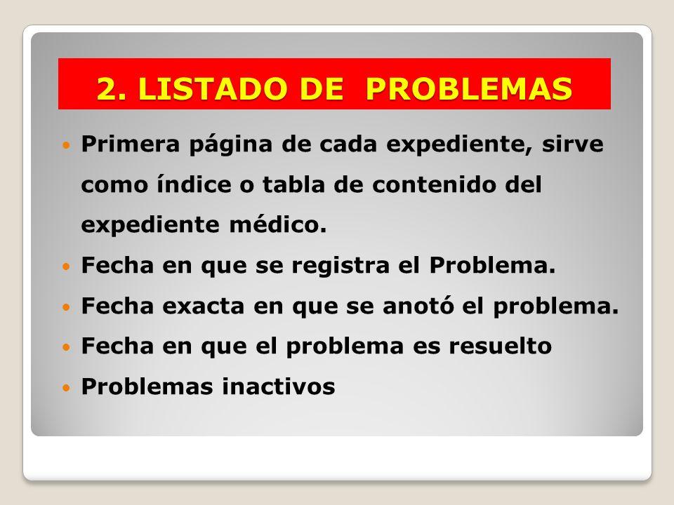 2. LISTADO DE PROBLEMAS Primera página de cada expediente, sirve como índice o tabla de contenido del expediente médico. Fecha en que se registra el P
