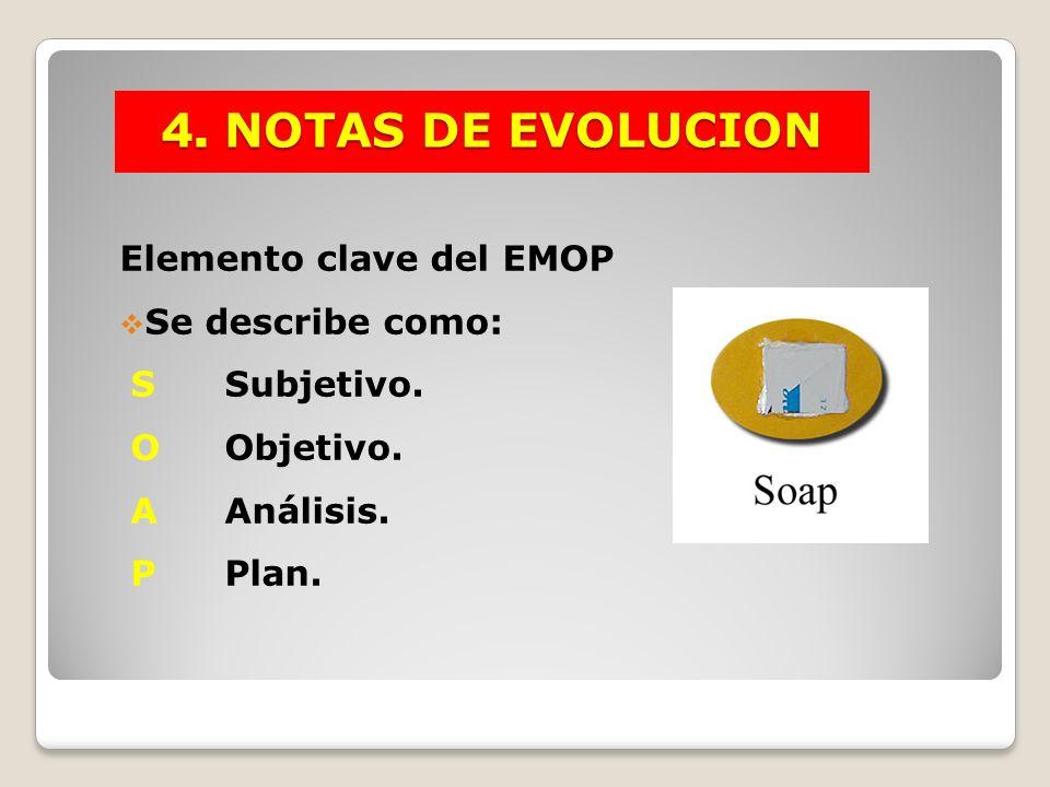 4. NOTAS DE EVOLUCION Elemento clave del EMOP Se describe como: SSubjetivo. OObjetivo. AAnálisis. PPlan.