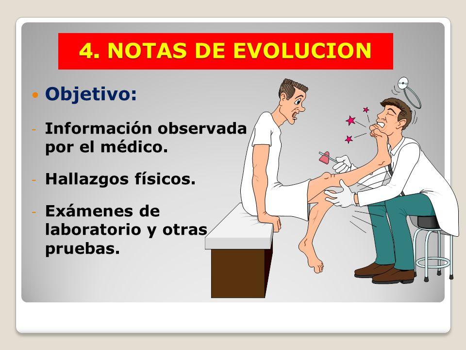 Objetivo: - Información observada por el médico. - Hallazgos físicos. - Exámenes de laboratorio y otras pruebas. 4. NOTAS DE EVOLUCION