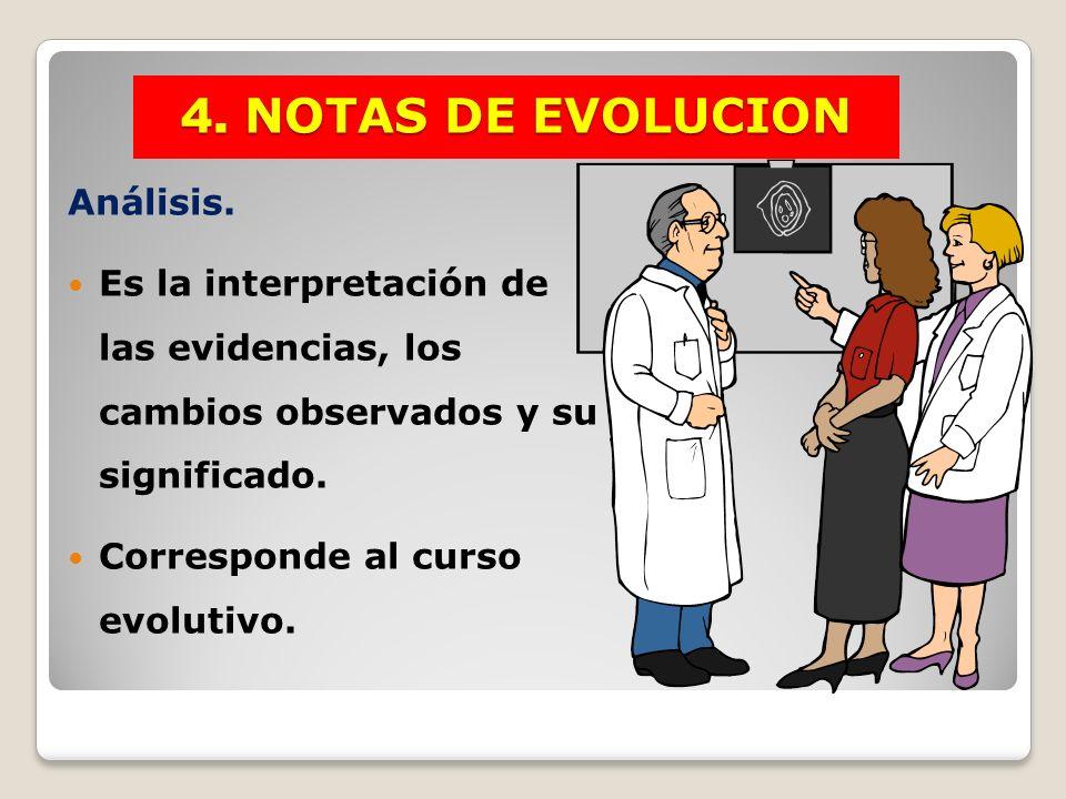 Análisis. Es la interpretación de las evidencias, los cambios observados y su significado. Corresponde al curso evolutivo. 4. NOTAS DE EVOLUCION