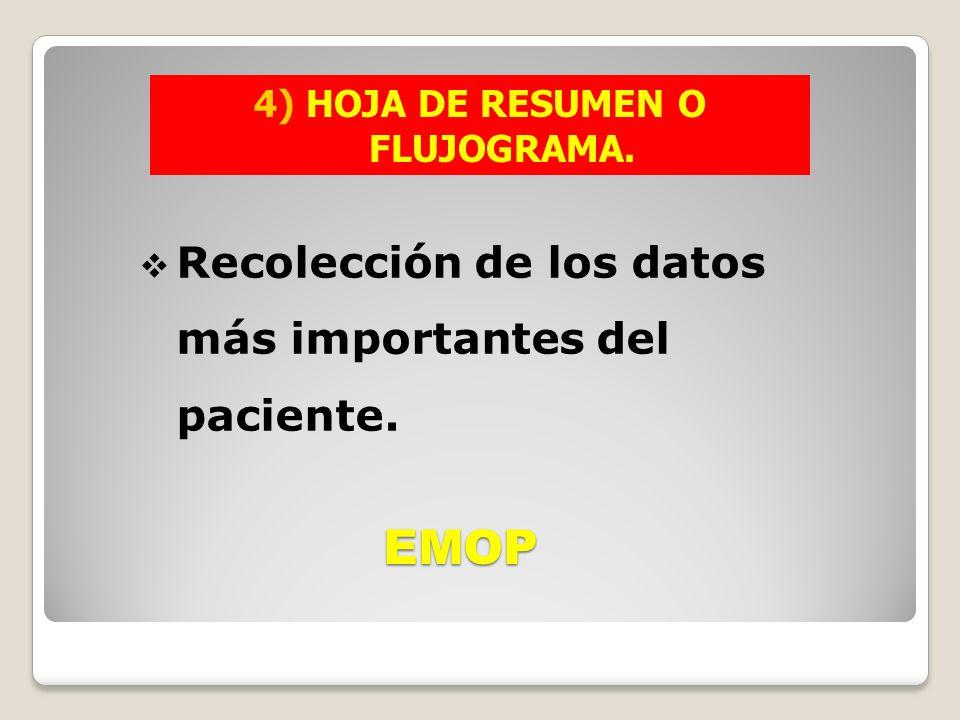 EMOP Recolección de los datos más importantes del paciente. 4) HOJA DE RESUMEN O FLUJOGRAMA.