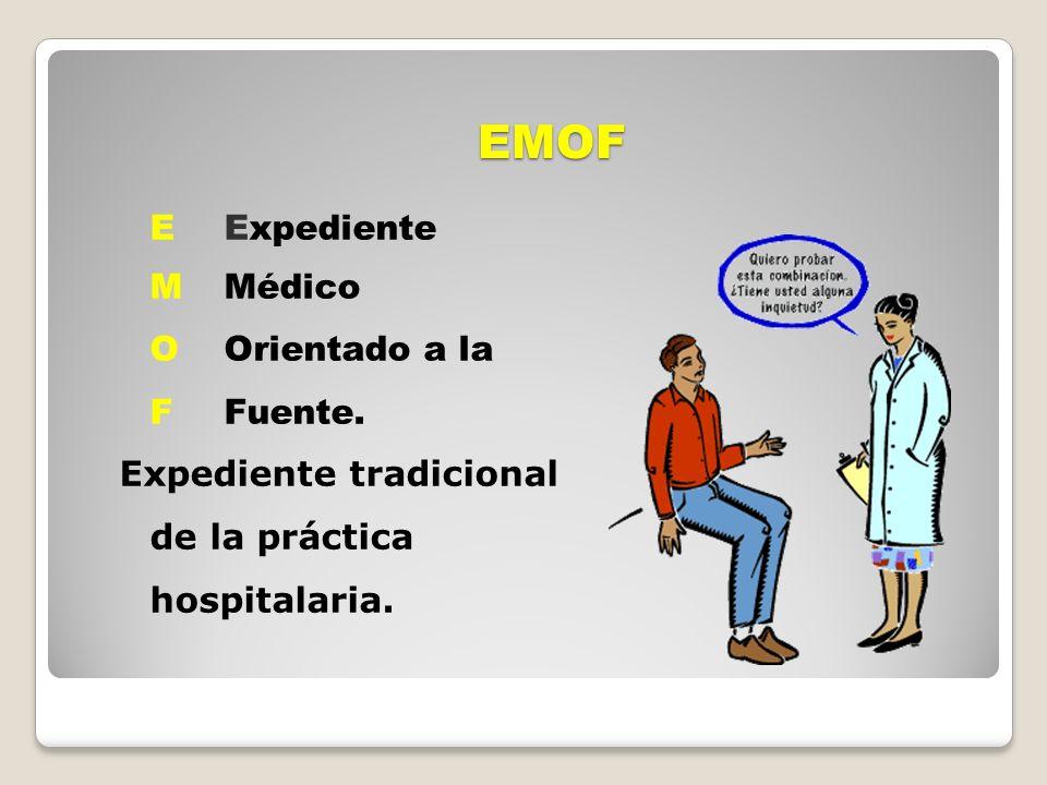 EMOF EExpediente MMédico OOrientado a la FFuente. Expediente tradicional de la práctica hospitalaria.