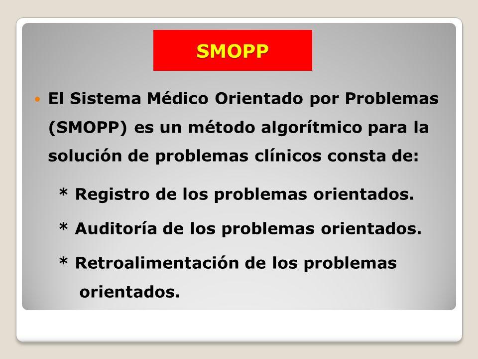 SMOPP El Sistema Médico Orientado por Problemas (SMOPP) es un método algorítmico para la solución de problemas clínicos consta de: * Registro de los p