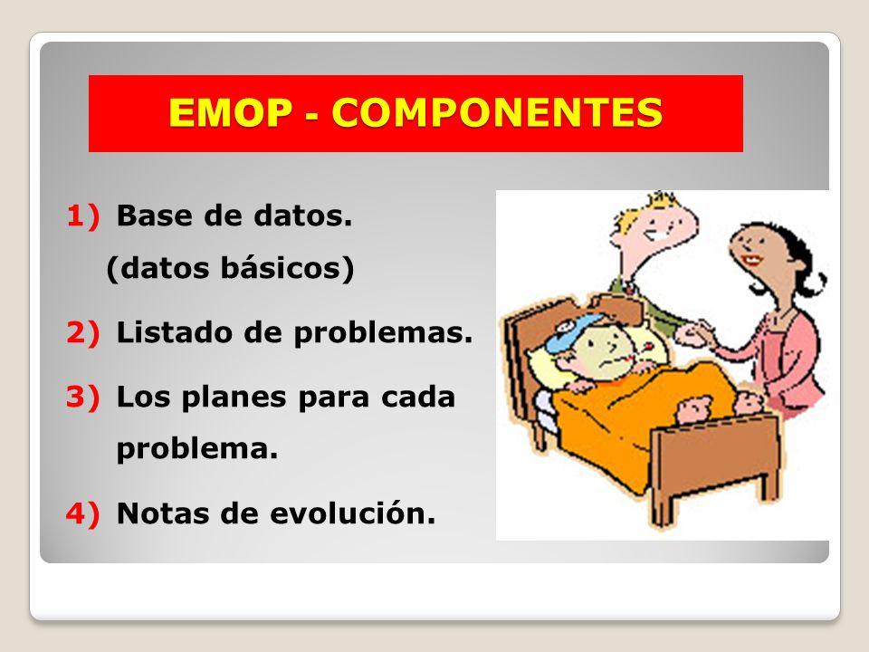 EMOP - COMPONENTES 1)Base de datos. (datos básicos) 2)Listado de problemas. 3)Los planes para cada problema. 4)Notas de evolución.