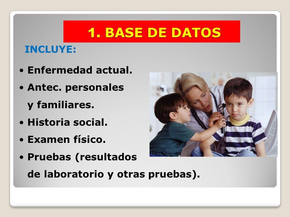 1. BASE DE DATOS 1. BASE DE DATOS INCLUYE: Enfermedad actual. Antec. personales y familiares. Historia social. Examen físico. Pruebas (resultados de l