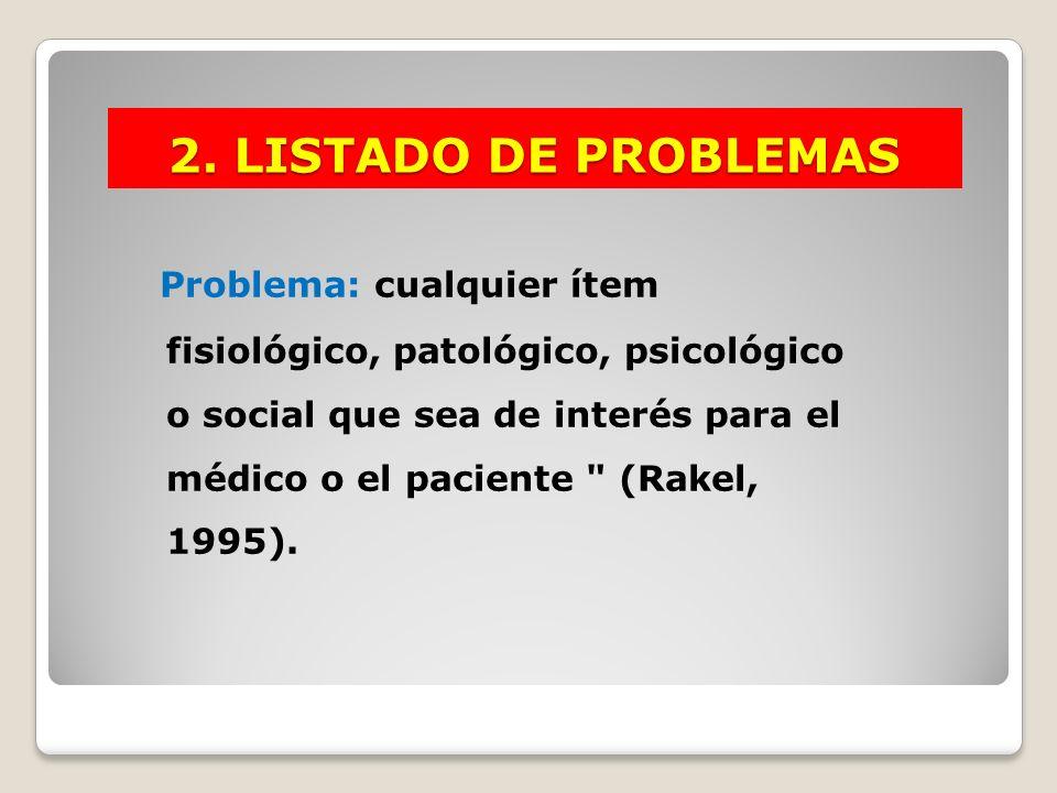 2. LISTADO DE PROBLEMAS Problema: cualquier ítem fisiológico, patológico, psicológico o social que sea de interés para el médico o el paciente
