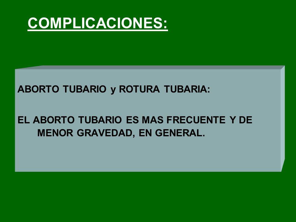 COMPLICACIONES: ABORTO TUBARIO y ROTURA TUBARIA: EL ABORTO TUBARIO ES MAS FRECUENTE Y DE MENOR GRAVEDAD, EN GENERAL.