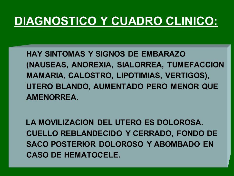 DIAGNOSTICO Y CUADRO CLINICO: HAY SINTOMAS Y SIGNOS DE EMBARAZO (NAUSEAS, ANOREXIA, SIALORREA, TUMEFACCION MAMARIA, CALOSTRO, LIPOTIMIAS, VERTIGOS), U