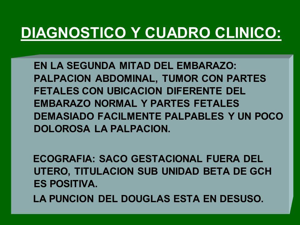 DIAGNOSTICO Y CUADRO CLINICO: EN LA SEGUNDA MITAD DEL EMBARAZO: PALPACION ABDOMINAL, TUMOR CON PARTES FETALES CON UBICACION DIFERENTE DEL EMBARAZO NOR