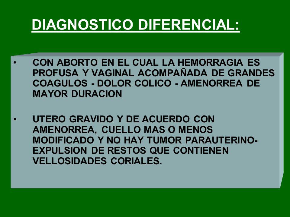 DIAGNOSTICO DIFERENCIAL: CON ABORTO EN EL CUAL LA HEMORRAGIA ES PROFUSA Y VAGINAL ACOMPAÑADA DE GRANDES COAGULOS - DOLOR COLICO - AMENORREA DE MAYOR D