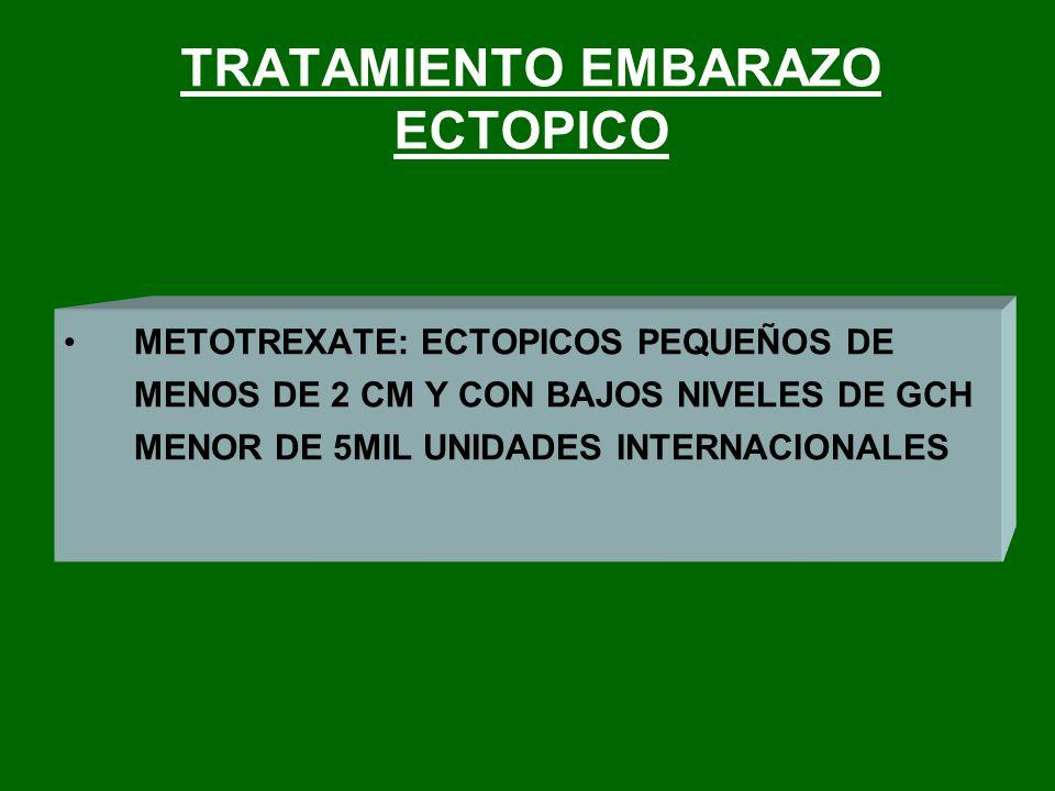 TRATAMIENTO EMBARAZO ECTOPICO METOTREXATE: ECTOPICOS PEQUEÑOS DE MENOS DE 2 CM Y CON BAJOS NIVELES DE GCH MENOR DE 5MIL UNIDADES INTERNACIONALES