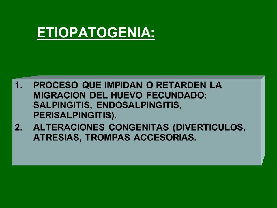 ETIOPATOGENIA: 1.PROCESO QUE IMPIDAN O RETARDEN LA MIGRACION DEL HUEVO FECUNDADO: SALPINGITIS, ENDOSALPINGITIS, PERISALPINGITIS). 2.ALTERACIONES CONGE