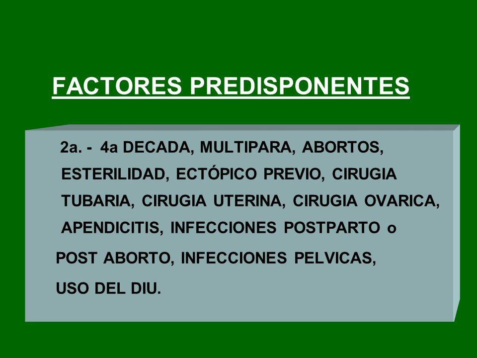 FACTORES PREDISPONENTES 2a. - 4a DECADA, MULTIPARA, ABORTOS, ESTERILIDAD, ECTÓPICO PREVIO, CIRUGIA TUBARIA, CIRUGIA UTERINA, CIRUGIA OVARICA, APENDICI