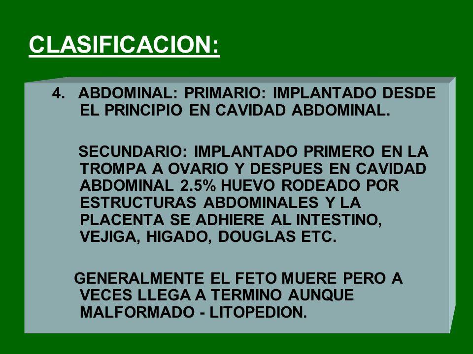 DIAGNOSTICO DIFERENCIAL: CON ABORTO EN EL CUAL LA HEMORRAGIA ES PROFUSA Y VAGINAL ACOMPAÑADA DE GRANDES COAGULOS - DOLOR COLICO - AMENORREA DE MAYOR DURACION UTERO GRAVIDO Y DE ACUERDO CON AMENORREA, CUELLO MAS O MENOS MODIFICADO Y NO HAY TUMOR PARAUTERINO- EXPULSION DE RESTOS QUE CONTIENEN VELLOSIDADES CORIALES.