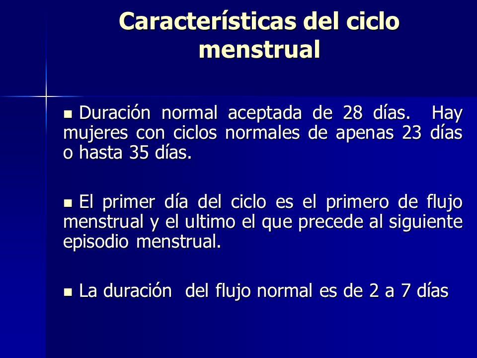 Características del ciclo menstrual Duración normal aceptada de 28 días. Hay mujeres con ciclos normales de apenas 23 días o hasta 35 días. Duración n