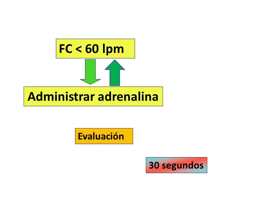 FC < 60 lpm Administrar adrenalina 30 segundos Evaluación