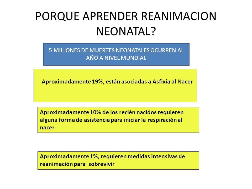 PORQUE APRENDER REANIMACION NEONATAL? Aproximadamente 19%, están asociadas a Asfixia al Nacer Aproximadamente 10% de los recién nacidos requieren algu