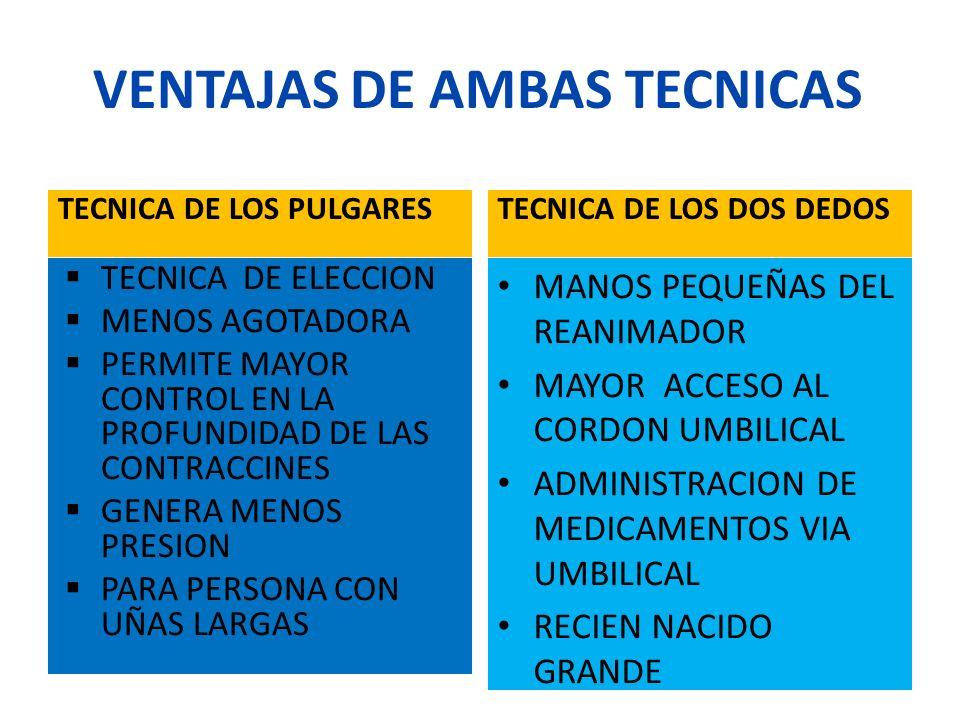 VENTAJAS DE AMBAS TECNICAS TECNICA DE LOS PULGARESTECNICA DE LOS DOS DEDOS TECNICA DE ELECCION MENOS AGOTADORA PERMITE MAYOR CONTROL EN LA PROFUNDIDAD